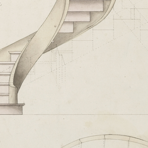 Drawing, Perspective and Plan View of a Spiral Staircase