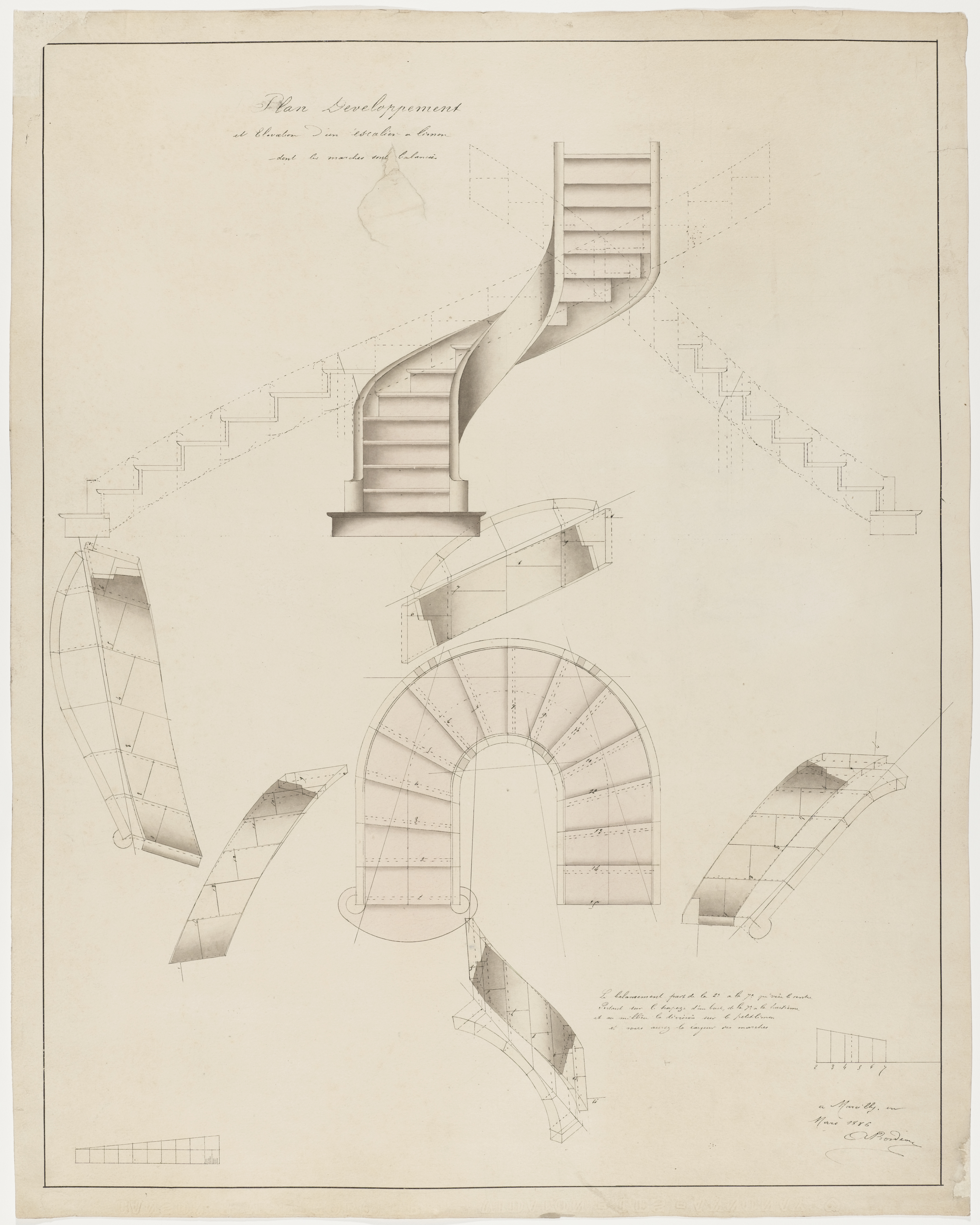 Picture of: Drawing Plan Development And Elevation For A Spiral Staircase That Turns To The Right Objects Collection Of Cooper Hewitt Smithsonian Design Museum