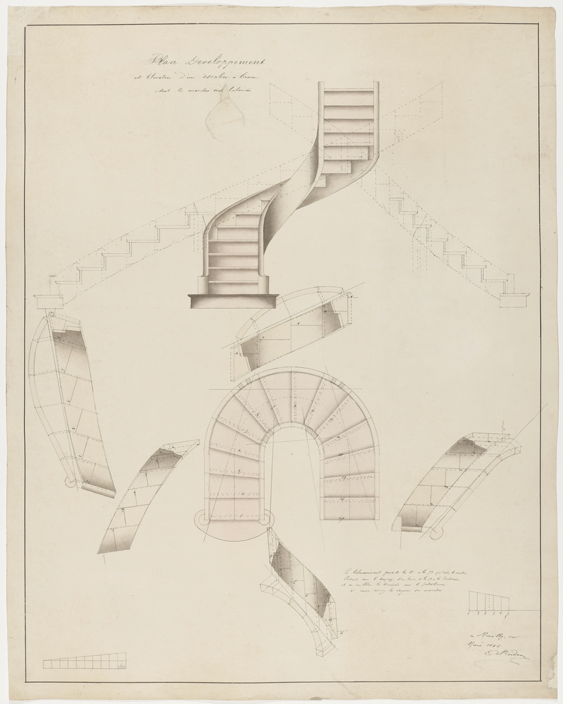 Drawing Plan Development And Elevation For A Spiral Staircase That