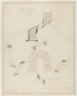 Plan and elevation of curved staircase; with details.