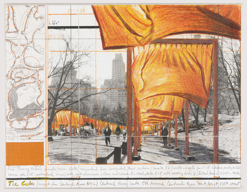 "Drawing for The Gates project for Central Park. Left margin, map of Central park. Lower left corner, swatch of fabric. Center, mock up of the Gates over photograph of Central Park. Inscribed in graphite, along lower margin:  Free flowing fabric panels (nylon cloth) suspended from horizontal head section (length 8' 6"") width of gate  from 6"" - 18"" between each gate  12' 0""/Square pole 5"" x 5"" (extruded vinyl) with cast aluminum elbow and sleeve to a steel plate 8"" x 8"" with leveling bolts (5/8') to steel base 6"" x 12"" x 48"" – 700 lbs./  The Gates (project for Central Park NYC) Central Park South, 5th Avenue, Central Park West, West 110th Street; in orange wax crayon, upper left corner of photograph:  18"" - 28""/; in black wax crayon:  h. 16' 0""/; in orange wax crayon: 14"" - 22""."