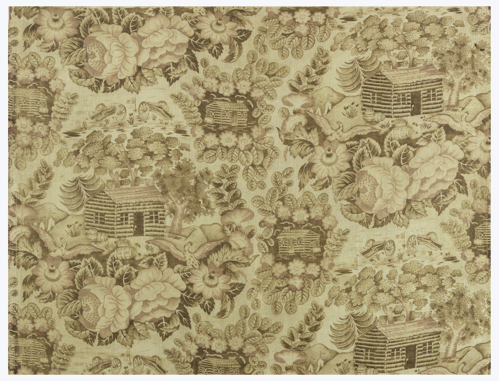 Printed cotton with alternating scenes of a log cabin, the larger of which has barrels in front, one of which reads HARD CIDER; cannons in the background. Flowers, trees, leaves and birds surround the scenes. In brown and red, much faded, on white.