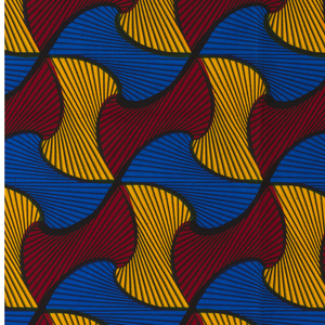 Abstract twisted forms. Printed in indigo, yellow and red on a white ground.
