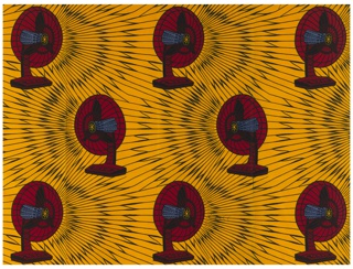 Electric fans on a background of curving, radiating lines. Printed in indigo, yellow-orange and red on a white ground.