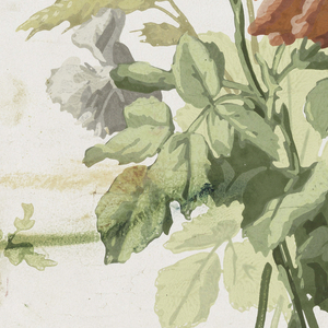 Bouquet of flowers: red roses, blue-gray carnations with green leaves, and yellow-green field grasses. Printed in colors on white satin ground.