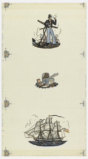 "Decoration with two large, two medium sized and one small motif: sailor in costume of about 1800 smoking a pipe, with anchor and ships; ship flying American flag; group of boxes, oars, barrel, etc.; trophy of flag, cannon balls, capstan and barrel; and compass. Selvedge stamped: DROP PATTERN THIBAUT ""DESIGNS OF TO-DAY"". Printed in red, blue and black on white paper."