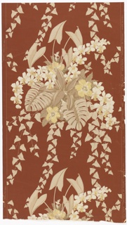On dark Venetian red ground bunches of flowers with hanging ivy, in beige and tan colors.  Drop repeat.