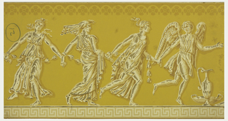 Four classical figures in flowing robes, romping with hands joined, urn in front of first figure, printed in white and gilt on yellow ground.