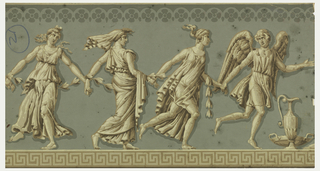 Four classical figures frollicking with hands joined, urn in front of first figure, printed in grisaille on light green ground, band of Greek key motif at bottom edge.