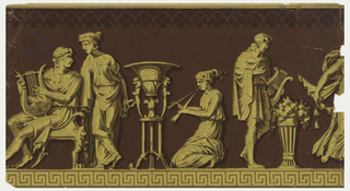 Four and one half classical figures, one male seated with harp, one female kneeling, one male standing with harp. Printed in monochrome yellow ocher on deep red ground with Greek key banding at bottom edge.