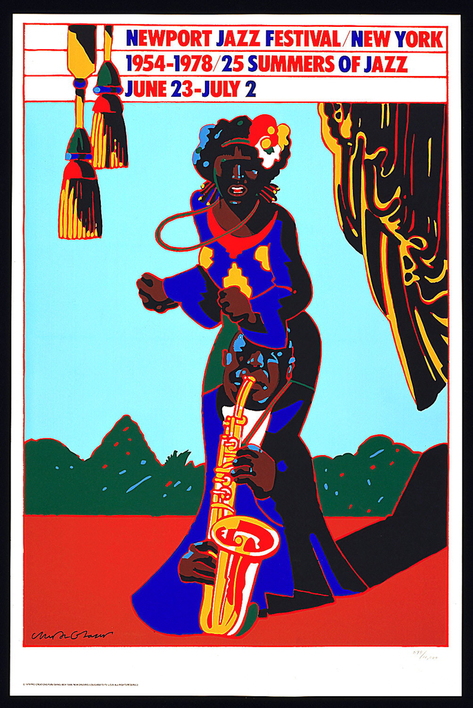 "Vividly colored poster depicting the figure of a standing singer fused with that of a saxophonist, who forms the skirt of her dress. The figure(s) occupy a curtained stage with red flooring and landscape in background. Printed in bands across top: ""NEWPORT JAZZ FESTIVAL / NEW YORK / 1954-1978 / 25 SUMMERS OF JAZZ / JUNE 23 - JULY 2."
