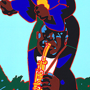 "Vividly colored poster depicting the figure of a standing black singer fused with that of a black saxophonist, who forms the skirt of her dress. The figure(s) occupy a curtained stage with red flooring and landscape in background. Printed in bands across top: ""NEWPORT JAZZ FESTIVAL / NEW YORK / 1954-1978 / 25 SUMMERS OF JAZZ / JUNE 23 - JULY 2."
