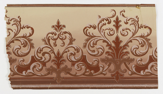 Frieze on ground fading from pale pink at bottom to off-white at top, red and reflective white mica, feathered scroll fleur-de-lis motifs alternate in large and small versions.