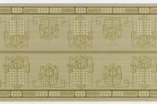 On gray and beige lined ground, abstract decorative motifs with squared leaves in beige and cream four-petalled flowers alternating large and small connected by Greek key.