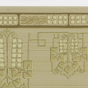 On gray and beige lined ground, abstract decorative motifs with squared leaves in beige and cream four-petalled flowers alternating large and small connected by Greek key. Two borders printed across the width.