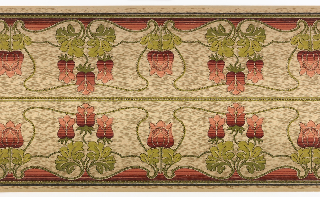 Mission/art nouveau styleStylized tulips, alternating betwen group of three and a single larger tulip. The flowers all shade from light to dark red. They are printed on a strie-like background, with burgundy fills at the bottom. Printed two across.