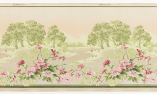 Landscape frieze with view of trees and horizon in the background, while a meandering row of pink flowers is in the foreground.