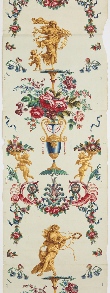 Arabesque; with four different classical female figures, with vases, flowers and putti.  Block printed and hand-painted in color with gilded highlights on ungrounded white paper.