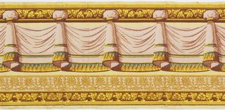 Pink drapery swags with ocher and blue fringe. Drapery is suspended from an architectural molding. A double band of molding ornament runs along bottom edge, below drapery.