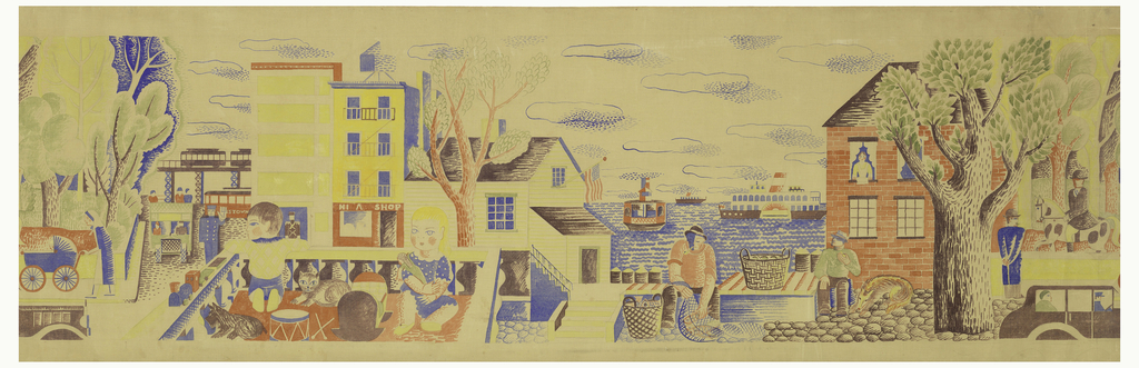 Design for a frieze hand painted on drafting cloth. This panel contains one repeat. Landscape scene includes both street scenes and harbor or river views. A boy and girl are playing on a patio witha  dog and cat; man fishing on wharf in front of harbor; woman pushing carriage, limousine, town buildings in background. Painted in multiple colors on an off-white linen support.