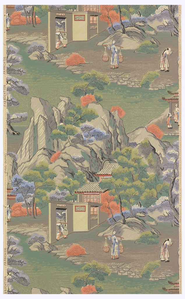 """Chinoiserie: Chinese scenes including small buildings set amongst trees and steep mountains, figures carrying double baskets and standing in doorways. Printed in green, gray, orange and blue on off-white ground. Printed in selvedge: """"Paul Dumas""""."""