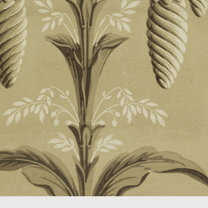 Taupe ground, stylized plant with unusual seed pod pendants, printed in cream and brown.