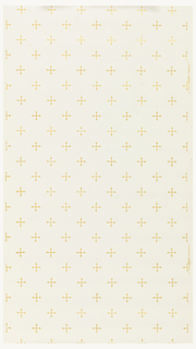 Metallic gold crosses printed at regular intervals, forming diagonal stripes of pattern. Printed on a white ground.