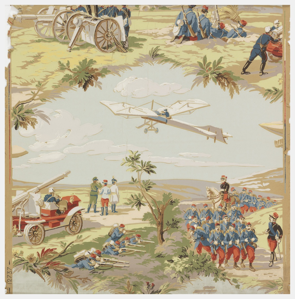 The paper contains just a little more than one vignette shows a battle scene, containing an airplane, cannons and soldiers.  Printed in polychrome on a gray ingrain paper.