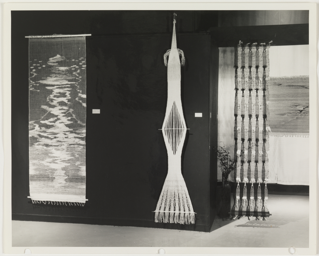 Photograph, Works by Lenore Tawney displayed in the Cooper Union Museum exhibition, The Wonders of Thread