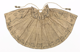 "Small cape for an ecclesiatic figurine, the ""Bambino"" with six-pointed collar. Gold metal cloth with foundation of pinkish silk, embroidered with silver thread and silver sequins. Tiny vine and flower design. Lined with pink silk."