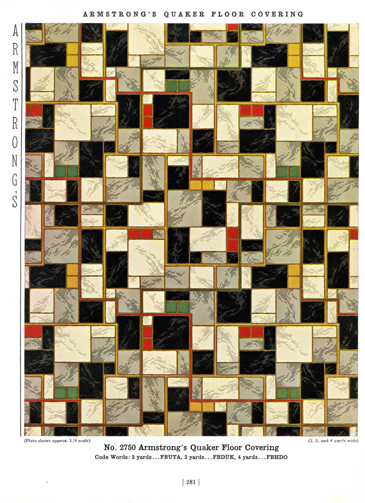 Trade Catalog, The Armstrong Pattern Book, Design for Armstrong's Quaker Linoleum Floor Covering No. 2750