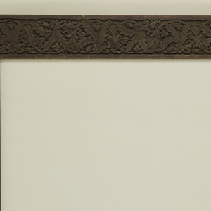 Rectangular door frame, carved in teak with oak leaves. Transferred from Mr. Carnegie's Bedroom to Collections during restoration of mansion; August 1974- September 1976.