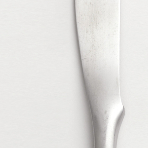 Dinner knife (a): flat strip of stainless steel with curved protrusion where blade merges into handle forming finger support.