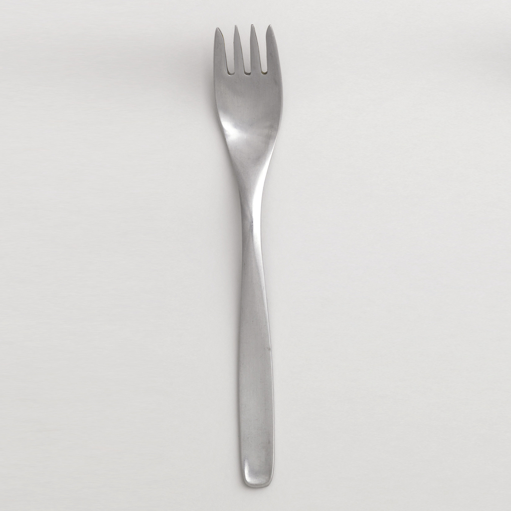 Salad fork four-tined with slightly tapering, curved handle with rounded, square terminal, rectilinear handle, ovoid bowl.