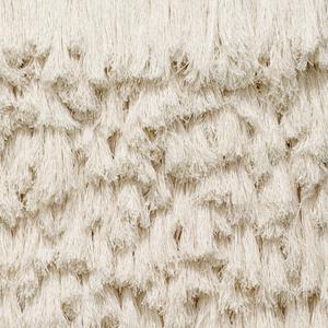 Rectangular panel of irregularly overvapping tassels of  white linen.