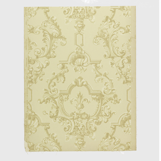 """A Georgian design inspired by French rococo scrolls forming medallions with shell motif at top. Reproduced from an old paper taken from living room of an old house in Concord, Massachusetts. The original wallpaper was hung about 1830. Printed on reverse side: Trade mark of Birge Co., """"22 sidewall 3177H, waterfast - light resisting. George II""""."""
