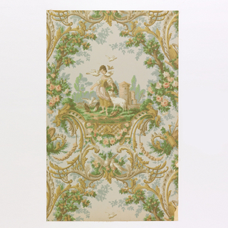 """Large medallion of a pastoral scene. A young woman is feeding pidgeons, a lamb is beside her. An old ruined tower is in the distance. All enclosed in a frame of rococo scrolls and foliage. Garden tools and doves are also in the elaborate design which is suggestive of Watteau and Louis XV period. This paper is reproduced from an old one hung about 100 years ago in the old Livingston Manor House, Catskill, New York. Printed on reverse: """"No. 280 CB. The Livingston""""."""