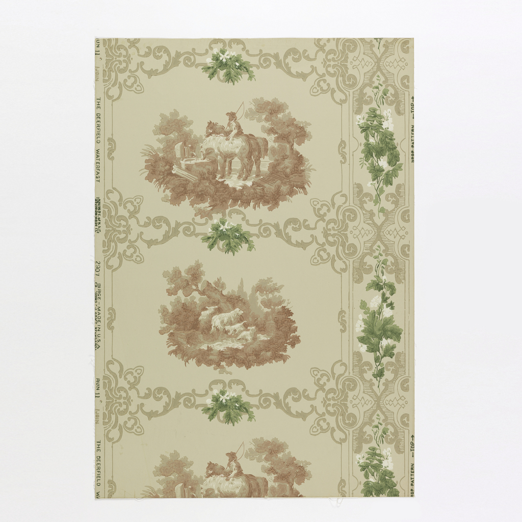 """Design evenly divided into rectangular panels with two alternating farm scenes. One shows horses at a water trough, the other, sheep with young lambs. Rectangles have scroll border. At right of paper is continuous vertical band of scrolls and bunches of flowers. Reproduced from an old colonial house in the Deerfield Valley in Massachusetts. Printed on reverse: """"No 284 CB"""". Printed in old red, green, ivory and tan on putty field. Not original colors."""