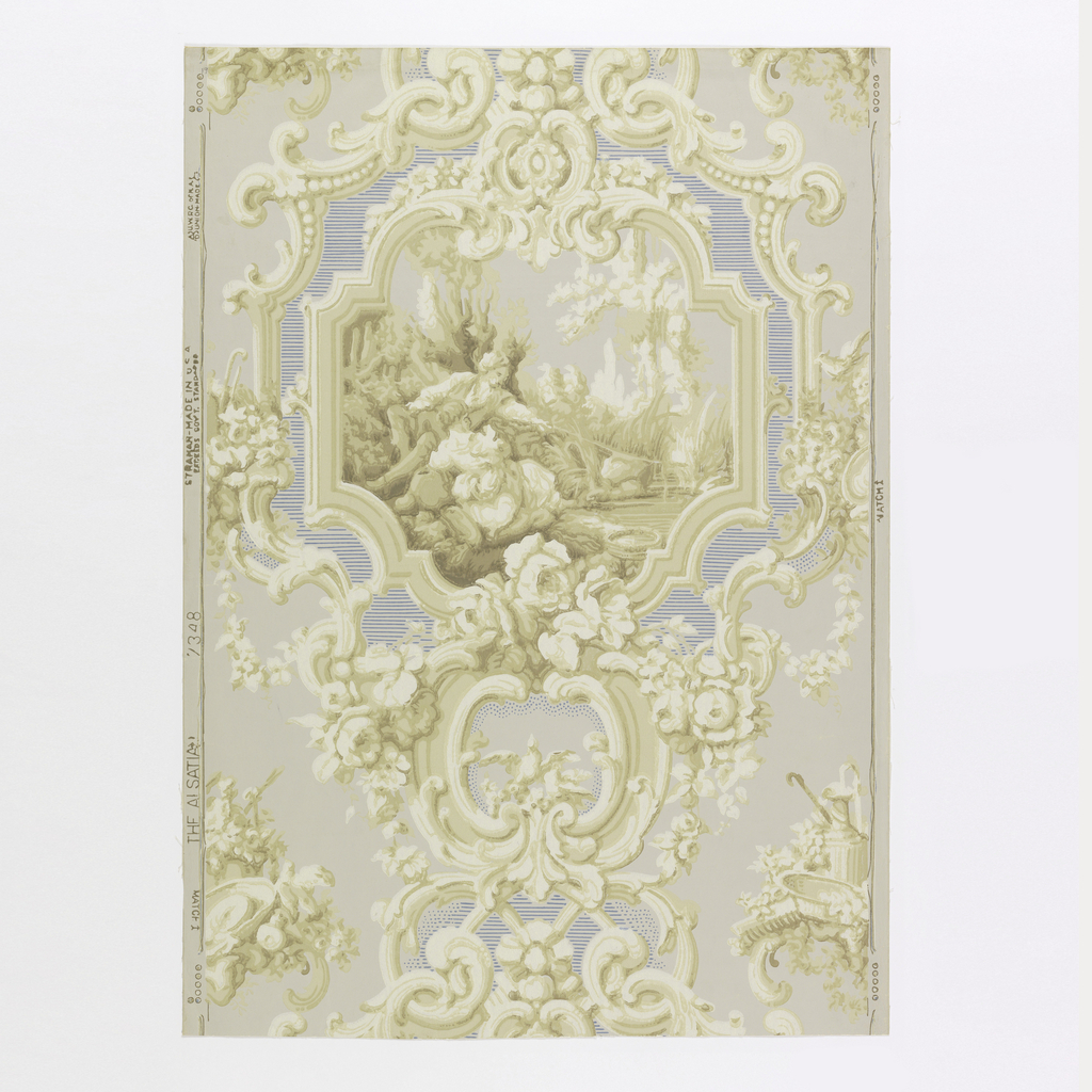 """Medallions with ornate Rococo scrolls and festooned with roses. Idyllic scene in medallion of a young swain and his sweetheart on the banks of a stream fishing. Border has spaces lined off with fine horizontal lines in blue. Between medallions are insets of a collection of garden utensils and tools. Original was found in a collection of antique wallpapers in France. Printed in margin: """"Strahan, Made in U.S.A. 7348""""."""