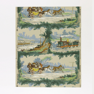 "The design is composed of two vignettes enclosed in irregular foliated border. One scene is called ""The Past"" and shows an English stage coach drawn by four horses. Coach filled with passengers and luggage. Sign post reads: ""London, Cambridge"". The other scene shows a train of cars and engine. It is called ""The Present"". Name of engine is ""Vulcan"". A cathedral is in rear of landscape. This paper was hung in home of Moses Williams, a California pioneer, which he built in 1856. It was reproduced for Miss Lucille G. Parmalee. Marked in selvedge: ""The Parmalee, 6973, Thomas Strahan Co."""