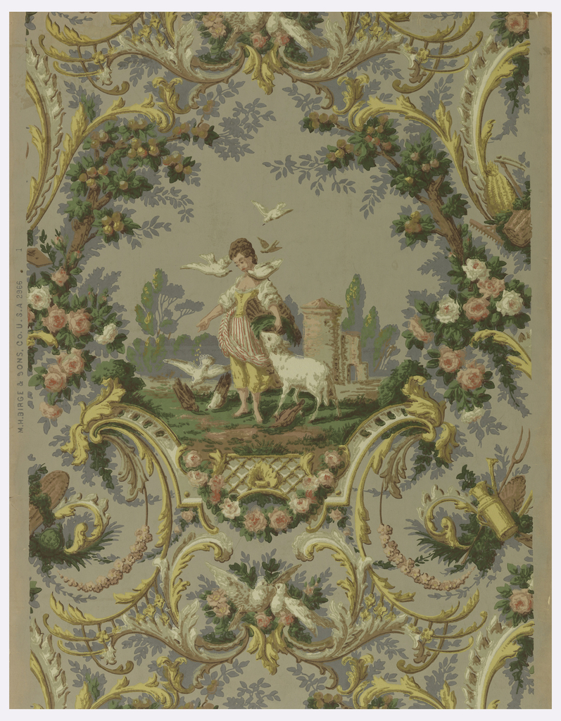 A large medallion of pastoral scene. In foreground, young woman feeding pigeons, a lamb bedside her; ruined tower in distance. Enclosing framework of rococo scrolls and foliage. Garden tools, doves and roses. Printed in gold, green and apricot on slate-gray field.