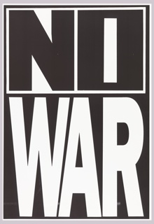 Black and white block letters: NO / WAR.