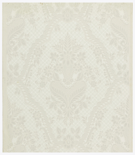 Stylized and symmetrical pattern. Bouquet of flowers in an urn, all enclosed in a medallion. Field is covered with small quatrefoil florets. Entire paper is embossed with fine parallel horizontal lines. Printed in shades of gray on ivory ground.