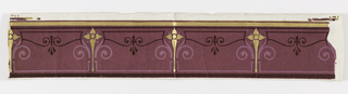 Horizontal rectangle. Narrow gold band along upper edge. Main portion is pinkish purple flock ornamented with Greek lines and foliate forms and a plant-like vertical figure in gold.