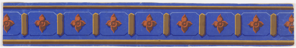 Quatrefoil on raised panels. Printed in bright orange, brown, tan and blue on blue ground.  H# 21
