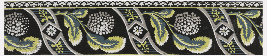 "Three different bands of varying widths. Primary band alternates leafy sprigs of hydrangeas with vierticam, reverse-""S"" curved bands that frame daisy-like flowers in diamond centers. Below this runs a continuous band in a stylized floral and dot motif, above a denticulated band. Printed in yellow, white, green and gray on black ground.  H# 357A"
