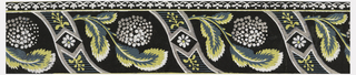 "Three different bands of varying widths. Primary band alternates leafy sprigs of hydrangeas with vierticam, reverse-""S"" curved bands that frame daisy-like flowers in diamond centers. Below this runs a continuous band in a stylized floral and dot motif, above a denticulated band. Printed in yellow, white, green and gray on black ground.