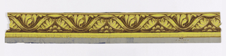 Classical motif. Architectural molding with central scolling band. Demi-loon floral boss below with acanthus motif above. Printed in yellow and shades of yellow ocher. Printed on gray ground.