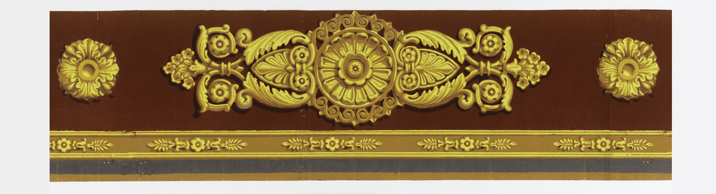 Wide top band containing an ormolu or gilt bronze medallion. This elaborate medallion alternates with a smaller rosette. Narrow band of similar medallions near bottom edge. Band of gray at bottom. Printed in shades of yellow, ocher and rust-colored flock of yellow ocher ground. a) contains the large medallion and two rosettes; b,c) each contain just one large medallion.  H#218