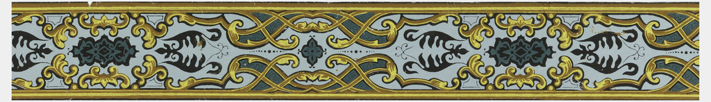 Design consists of a simplified Rocaille interlaced framework with alternating stylized floral silhouettes and cartouches; printed in yellow, tan, green and black on pale blue.